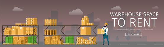 Warehouse Renting. Goods and Freight on Shelf vector illustration