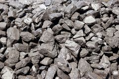 Warehouse for retail sale of coal to the population.Trade in natural resources and minerals.Heating season in houses. Energy for t. Hermal power plants, indystry stock image