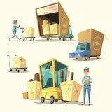 Warehouse retro cartoon set Royalty Free Stock Image