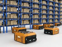 Warehouse robot assembly. 3d rendering warehouse robot assembly in factory stock images