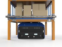 Warehouse robot carry boxes. 3d rendering warehouse robot carry boxes on shelf Stock Photo