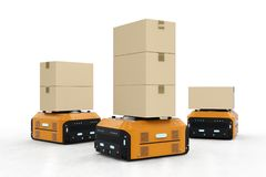 Warehouse robot carry boxes. 3d rendering warehouse robot carry boxes on white background Royalty Free Stock Photography