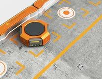 Warehouse robot charging at charging station Royalty Free Stock Photo