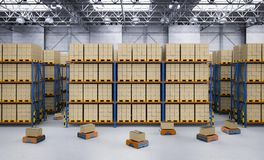 Warehouse robot in factory stock image