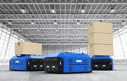 Warehouse robots carry boxes Royalty Free Stock Photos