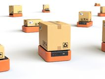 Warehouse robots carry boxes royalty free illustration