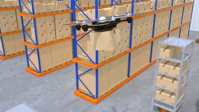 Warehouse robots and drone carrying goods