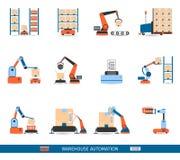 Warehouse Robots Icons Set Royalty Free Stock Photography
