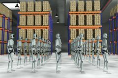 Warehouse robots. Many robots in a large warehouse stock illustration
