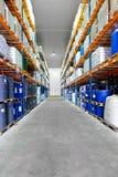 Warehouse row barrels Royalty Free Stock Photography