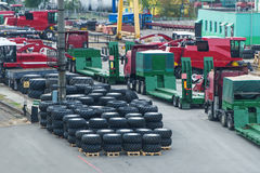 Warehouse of rubber tires for combines and tractors. Stock Photography