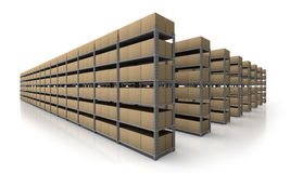 Warehouse scene in perspective. Warehouse perspective view of many metal stands and cardboard boxes on white background Stock Image