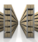 Warehouse scene with tidy boxes. Warehouse scene showing one lane of metal stands and cardboard boxes on white background Stock Photography