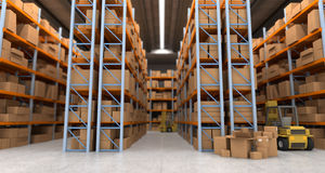 Warehouse scenes a. 3D rendering of a distribution warehouse with shelves, racks, boxes, forklift,  ideal for backgrounds Royalty Free Stock Photo