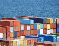 Warehouse with sea containers Royalty Free Stock Photo