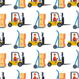 Warehouse seamless pattern background with shipping truck and delivery flat elements storage business industry vector vector illustration
