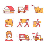 Warehouse, services and delivery transportation Stock Photos