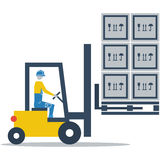 Warehouse services, fork truck driver loading boxes Stock Photography