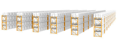 Warehouse Shelves. Rack x 60. Side view. Part of Warehouse series Royalty Free Stock Photos