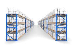 Warehouse Shelves 2 rows. Floor Shadows. Stock Image