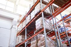 Warehouse Shelves Background. Low angle view at tall storage shelves with packed goods in warehouse, background with copy space Stock Photos