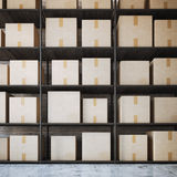 Warehouse shelves with boxes. 3d rendering Royalty Free Stock Photos