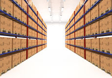 Warehouse shelves filled with boxes Royalty Free Stock Photos