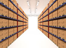 Warehouse shelves filled with boxes Stock Images