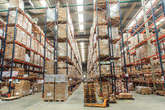 Warehouse shelves with goods stock images