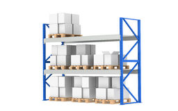 Warehouse Shelves. Medium Stock Level. Part of a Blue Warehouse and logistics series Royalty Free Stock Photo