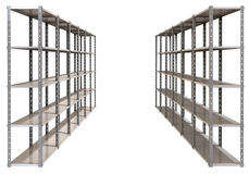 Warehouse Shelves Pair Perspective Stock Photo