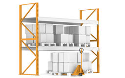 Warehouse Shelves, Pallets And A Hand Truck Royalty Free Stock Photography