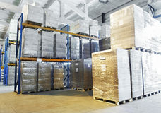 Warehouse with shelves rack Royalty Free Stock Photography