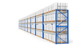 Warehouse Shelves, side view. Part of a Blue Warehouse and logistics series Stock Photos