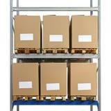 Warehouse shelving boxes Royalty Free Stock Image