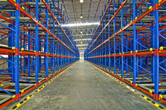 Warehouse shelving storage system shelving metal pallet racking Stock Photography