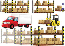 Warehouse shelving and transportation Stock Photography