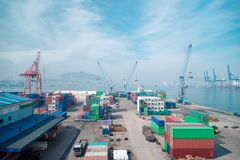 Warehouse and shipping port logistic in busan, south korea.  stock photo