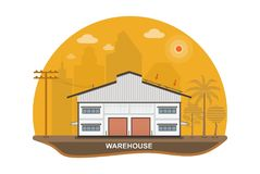 Warehouse with solar panels on the roof ,vector illustration Stock Photo
