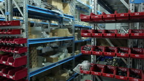 Warehouse of spare parts for automobile stock video footage