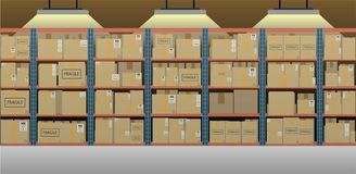 Warehouse with stack of boxes stock images