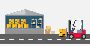Warehouse and Stackers Flat Design Royalty Free Stock Photo