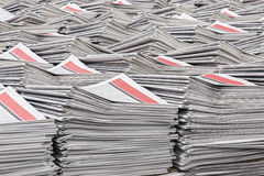 Warehouse stacks of newspapers Royalty Free Stock Image