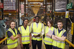 Warehouse staff group portrait, elevated view royalty free stock images
