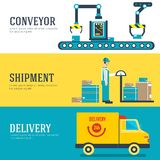 Warehouse staff moves cargo, boxes, packages and parcels. Business delivery service vector illustration design banners vector illustration