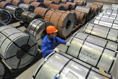 Warehouse steel coils of sheet steel Stock Image