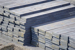 Warehouse steel ingots in the port Stock Photo