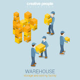 Warehouse storage delivery service flat 3d web isometric concept Stock Photos