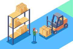 Warehouse for storage and distribution of cargo. In isometric style. Vector illustration Stock Image