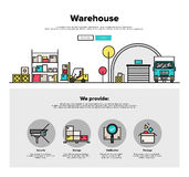 Warehouse storage flat line web graphics Stock Photography